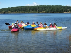 Kayaking with junior students